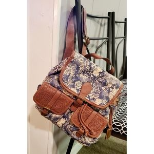 Chaps Floral Leather Backpack Purse Hobo Bag